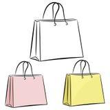 De handtas van vrouwen voor het winkelen. eps10 Stock Foto