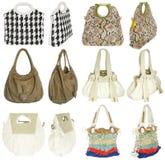 De handtassen van kleurrijke vrouwen Stock Afbeeldingen
