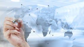 de handtekening met nieuwe moderne computer toont sociaal netwerk struc stock afbeelding