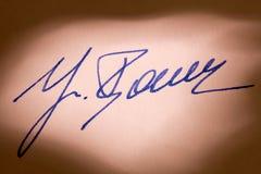 De handtekening van de vulpen op een brief Royalty-vrije Stock Afbeeldingen