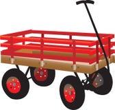 De handvrachtwagen van het heldere rode jonge geitje Stock Afbeelding