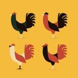 De hanen of kurkt vechter vier stijl stock illustratie