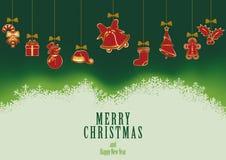 De hangende Achtergrond van Kerstmiselementen Royalty-vrije Stock Afbeeldingen