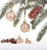 De hangende ballen van Kerstmis Stock Foto's