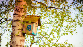 De hangende doos van het vogelhuis Royalty-vrije Stock Afbeelding