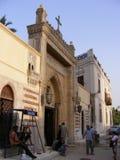 De hangende kerk met kruis op bovenkant en de lantaarns op fostatgebied Kaïro fokhareen gergis oud Kaïro van gebieds fostat Mary Royalty-vrije Stock Afbeelding