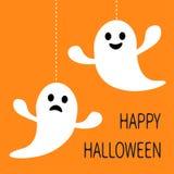 De hangende lijn die van het spookstreepje en droevig gezicht glimlachen Gelukkig Halloween De kaart van de groet Stock Afbeeldingen
