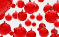 De hangende rode ballen van Kerstmis Royalty-vrije Stock Afbeelding