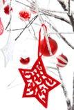 De hangende Snuisterijen van de Sterren van Kerstmis Royalty-vrije Stock Foto