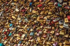 De hangsloten maakten aan elkaar het vieren liefde op brugbalustrade bij vast Zegenrivier in Parijs Stock Afbeelding
