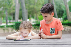 De Hapyjonge geitjes leren in een park De broer en de zuster doen samen j royalty-vrije stock foto