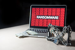 De harde schijf met monitor wordt gesloten toont ransomware cyber aanval die Stock Foto's