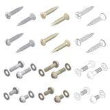 De Hardware Isometrische Reeks van schroevenwasmachines Royalty-vrije Stock Fotografie