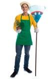 De hark van de tuinman gardner bloem het tuinieren tuinberoep volledig BO stock afbeelding
