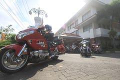 De Harleyminnaars verzamelen zich Royalty-vrije Stock Foto's