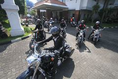 De Harleyminnaars verzamelen zich Stock Afbeelding