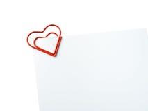 De hart gevormde lege glanzende foto van de paperclipholding Stock Afbeeldingen