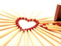 De hart-vorm van Matchstick Royalty-vrije Stock Afbeeldingen