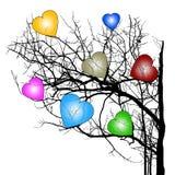 De hartboom wijst Valentijnskaarten op Dag Stock Afbeeldingen