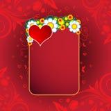 De Harten, de banner en de bloemen van de Dag van een Valentijnskaart Royalty-vrije Stock Afbeeldingen