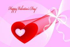 De harten, de krommen en de linten van Valentine op roze Stock Foto's