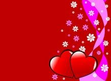 De Harten en de Bloemen van Valenties Royalty-vrije Stock Afbeelding