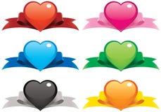 De Harten en de Linten van de valentijnskaart Stock Fotografie