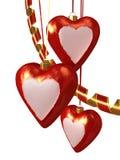 De harten en de ornamenten van Kerstmis Royalty-vrije Stock Foto's