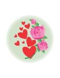De harten en de rozen van de valentijnskaart Stock Foto's