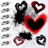 De harten en de vlekken van Grunge Royalty-vrije Stock Foto's
