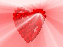 De harten en het witte licht glanzen Royalty-vrije Stock Afbeelding