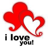De harten met tekst I houden van u Stock Afbeeldingen