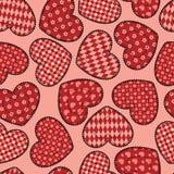 De harten naadloos patroon van het lapwerk. Stock Afbeelding