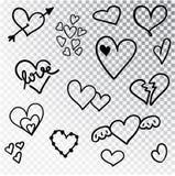 De harten overhandigen getrokken geïsoleerde reeks Ontwerpelementen voor de Dag van Valentine s De inzameling van de harten van d royalty-vrije stock foto's