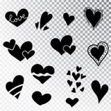 De harten overhandigen getrokken geïsoleerde reeks Ontwerpelementen voor de Dag van Valentine s De inzameling van de harten van d royalty-vrije stock afbeelding