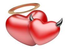 De harten van de engel en van de Duivel minnaarconcept Royalty-vrije Stock Foto's