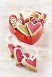 De Harten van de gember voor Valentijnskaart en de Dag van het Huwelijk. Stock Foto