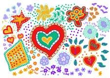 De harten van de liefde met nieuw (rood) jaar Stock Afbeelding