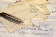 De harten van de steen met brieven Royalty-vrije Stock Foto