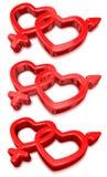 De Harten van de valentijnskaart Stock Afbeeldingen