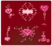 De harten van de valentijnskaart Stock Foto