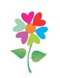 De harten van de valentijnskaart als bloem Stock Foto