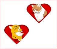 De harten van de valentijnskaart met katten Royalty-vrije Stock Afbeeldingen