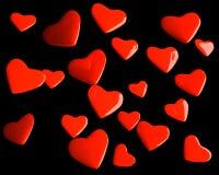 De harten van de valentijnskaart over zwarte Royalty-vrije Stock Afbeeldingen