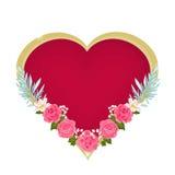 De harten van de valentijnskaartendag en roze rozenvector Royalty-vrije Stock Afbeelding