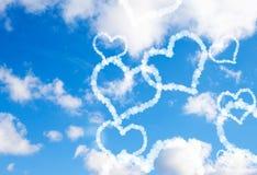 De harten van de wolk in de hemel Stock Afbeelding
