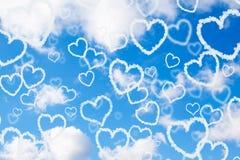 De harten van de wolk in de hemel Royalty-vrije Stock Foto