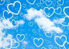 De harten van de wolk in de hemel Royalty-vrije Stock Foto's