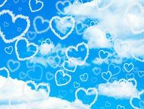 De harten van de wolk in de hemel Royalty-vrije Stock Afbeeldingen