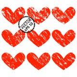 De Harten van Grunge Een reeks harten met diagonale grungespleten Royalty-vrije Stock Afbeeldingen